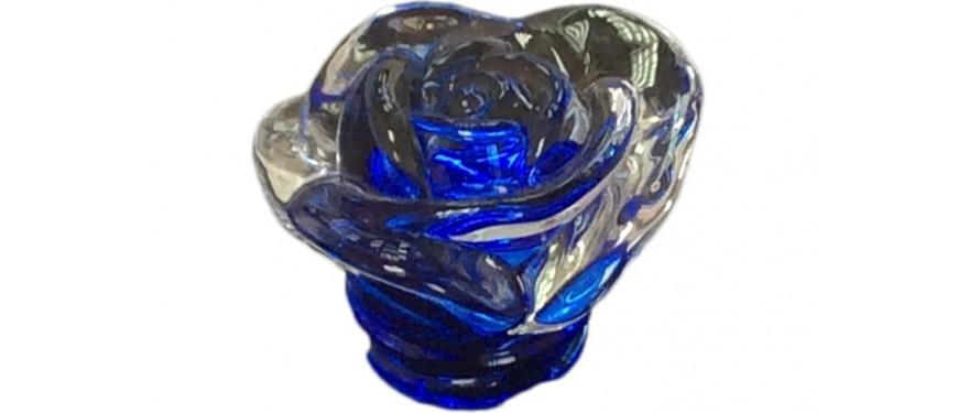 Rosa Bassa In Vetro Colorato Blu Att.50 - LMROSABASS