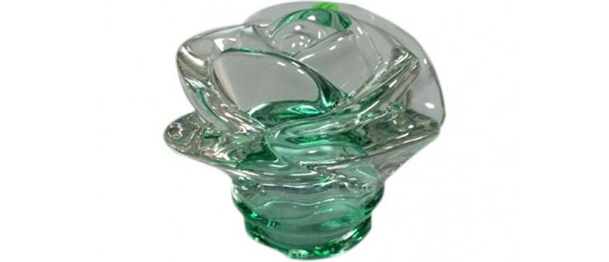 Rosa Bassa In Vetro Colorata Verde Att.50 - LMT01verde