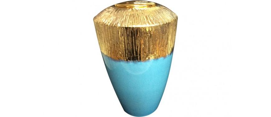 Urna Ceramica Celeste e Dorata - LMURNA RAKUCELESTE
