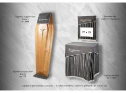 Copritavoli firme CTR15, portamanifesti PMT15, coccarde, tappetini
