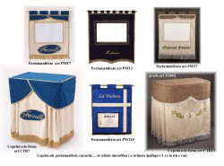 Copritavoli firme CTR7, 13, portamanifesti, coccarde, tappetini